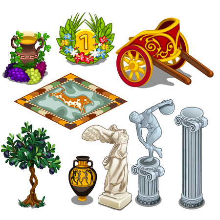 classical mythology character: Greek statues and other symbols of ancient culture. Big vector set in cartoon style