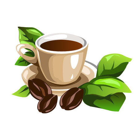 Cup of coffee decorated coffee beans and green leaves. Vector illustration of beverage for your design needs Illustration