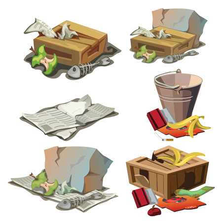 disposed: Grocery, paper and other trash. Vector illustration of garbage Illustration