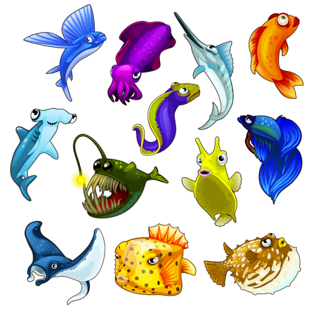 Vector collection of bright tropical fish on a white background for your design needs