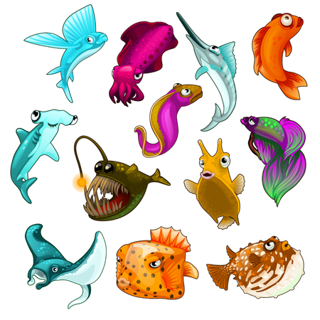 Vector collection of tropical fishes on a white background for your design needs