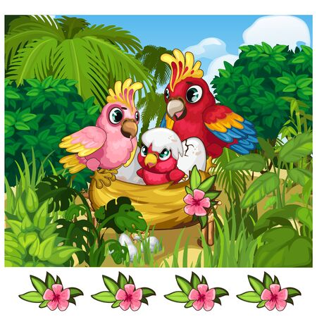 Two tropical parrots and their nestling in nature. Vector illustration scene from the wild life of birds