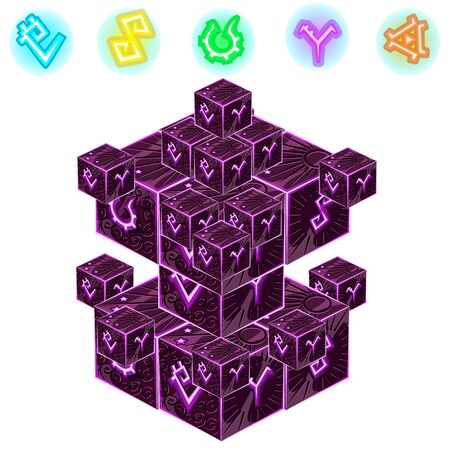 Purple magic cube with signs isolated on white background. Vector illustration