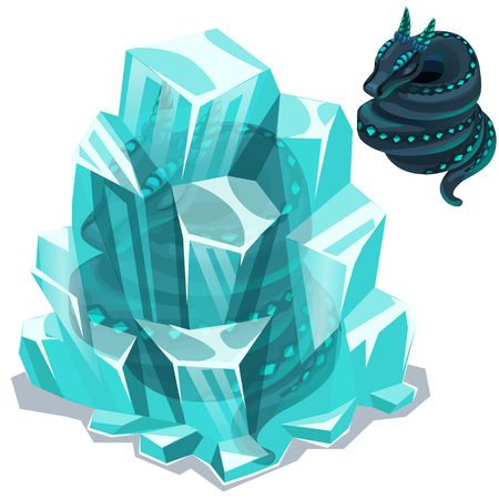 Snakes enclosed in ice crystals. Two vector images on white background. Illustration isolated Illustration