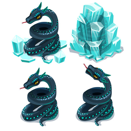 Frozen in ice and thawed snake, four vector images on white background. Illustration isolated