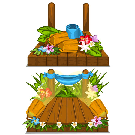 Wooden stage with flower decoration outdoor. Vector illustration on a white background for your design needs