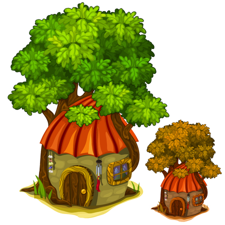 Fabulous stone house under a big tree. Vector illustration on a white background for your design needs