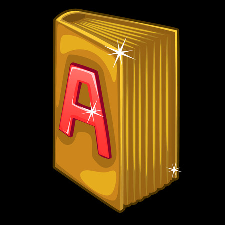 Golden book with red letter A on cover on black background. Vector illustration for your design needs