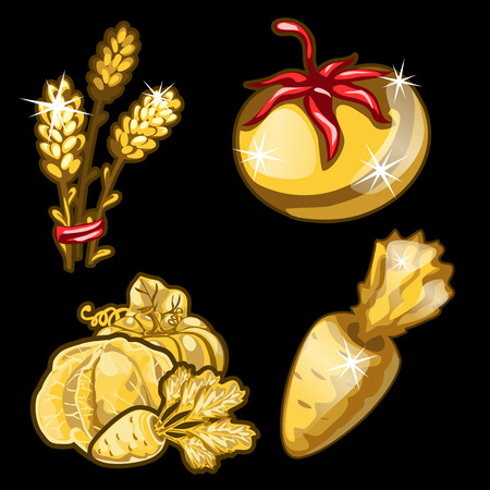Golden vegetables on black background. Four items on black background. Vector illustration for your design needs