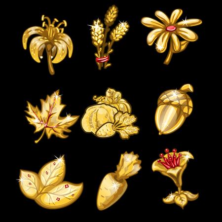 Golden set of flowers, leaves and vegetables. Nine items on black background. Vector illustration for your design needs Illustration