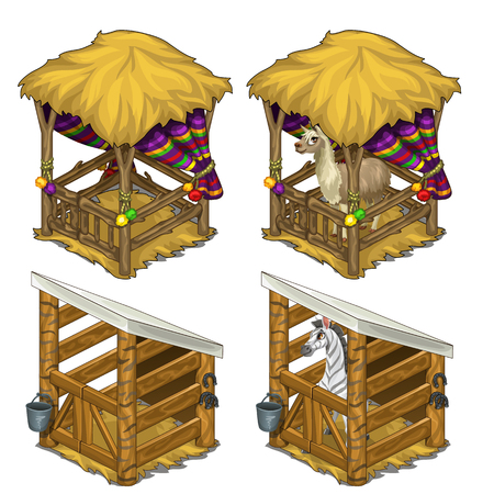 enclosure: Zebra and Lama in comfortable enclosures for animals. Cozy cage in circus or zoo. Vector illustration on a white background.