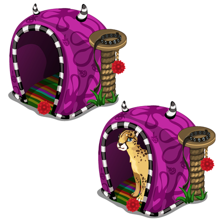 Beautiful cat leopard purple house cage in circus or zoo. Vector animal on a white background. Illustration