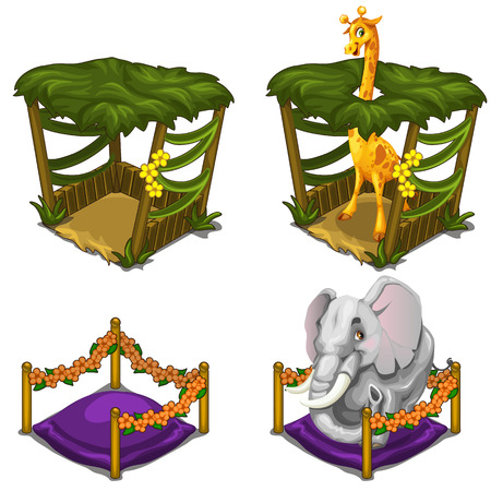 Giraffe and elephant in comfortable house for animals. Cozy cage in circus or zoo. Vector illustration on a white background. Illustration