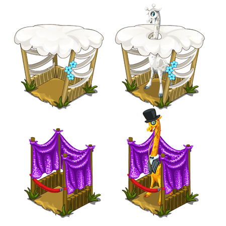 Stylish giraffes in tuxedo comfortable house for animals. Cozy cage in circus or zoo. Vector illustration on a white background. Illustration