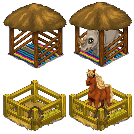 yoke: Rhino and horse in comfortable house for animals. Cozy cage in circus or zoo. Vector illustration on a white background Illustration