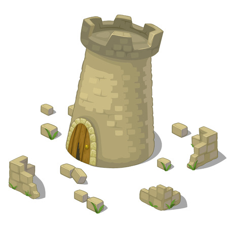 Ruined tower of castle or fort and fragments of walls. Vector illustration on a white background for your design needs