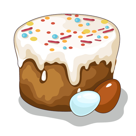 Easter cake and painted eggs. Vector holiday symbol on a white background. Illustration of isolated