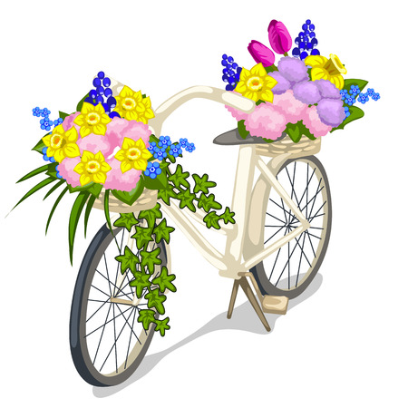 eco flowers basket: Bicycle decorated with flowers on a white background. Vector illustration for your design needs Illustration