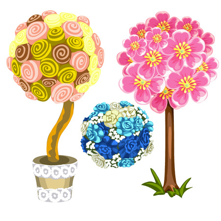 Two unusual tree and bouquet of blue roses. Vector set on white background for your design needs. Illustration isolated Illustration