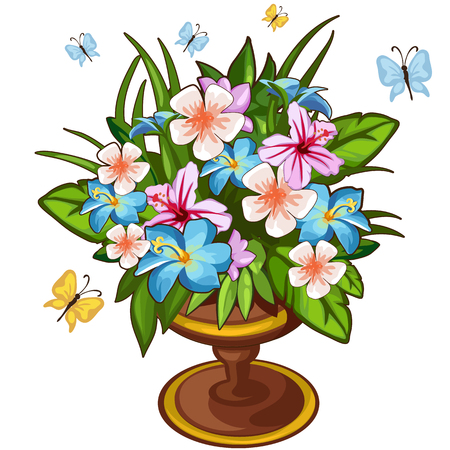 Bright bouquet of flowers in vase and butterfly. Symbol of nature and holidays. Sector illustration on white background for your design needs