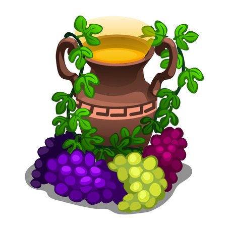 viticulture: Ancient greek amphora with grape wine on a white background. Vector illustration for your design needs Illustration