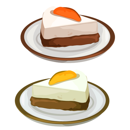 cheesecake: Delicious cheesecake with fruits, dessert on the plate. Vector image on white background. Isolated illustration for your design needs