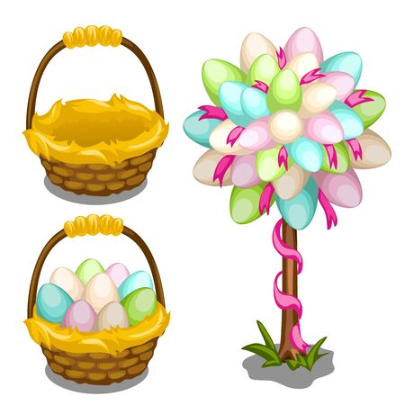 Basket with painted Easter eggs and tree decoration on white background. Vector set for your design needs