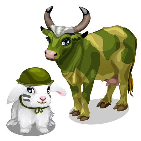 war paint: White bunny in helmet and cow in war paint. Young animals soldiers on white background. Vector illustration for your design needs