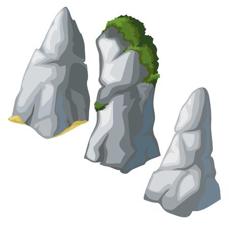 limestone: Set of grey rocks on a white background for your design needs. Vector illustration Illustration