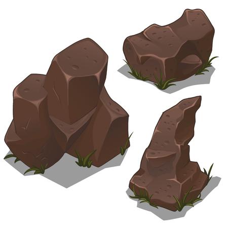 unstable: Set of dark brown rocks on a white background for your design needs. Vector illustration