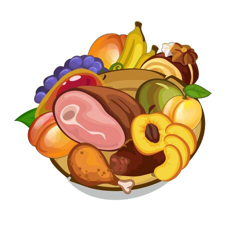 Vector set of meat and fruits on plate. Food Illustration on white background Illustration