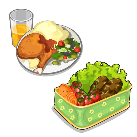 Delicious meal of meat and vegetables. Food isolated on a white background. Vector illustration