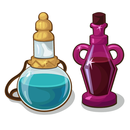 Two bottles of elixir on white background, vector elements for game and other design needs