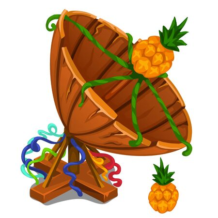 Handmade satellite dish from boards with pineapple. Vector illustration in cartoon style on white background