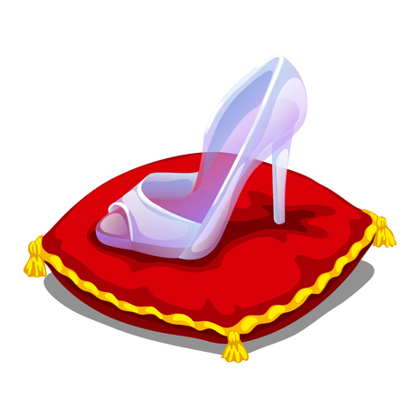 Ice clear shoe on red pillow. vector illustration on white background for your design needs Illustration