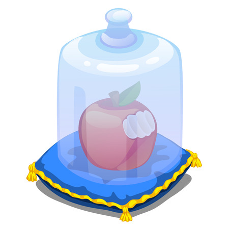 Bitten apple on pillow and covered with a transparent glass cover. Vector illustration on white background for your design needs