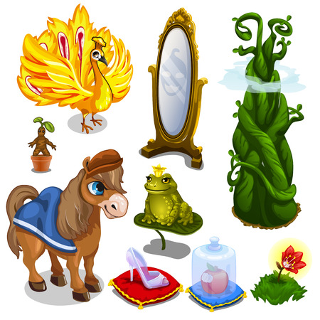 Horse, bird, frog and magic items. Big vector set on white background. Illustration in cartoon style for your design needs