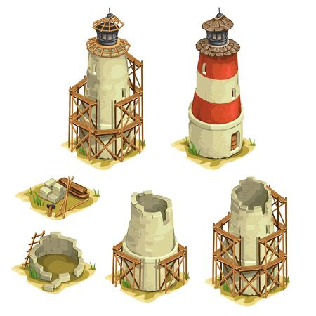Stages of construction of the brick lighthouse. Six images on a white background. Vector illustration for your design needs Illustration