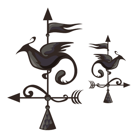 Wrought iron weathervane in form of bird. Vector illustration for your design needs on white background Illustration