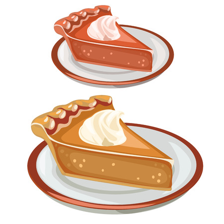 Two cake dessert on plates. Vector food isolated. Illustration dessert on a white background
