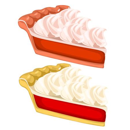 porcion de torta: Dos deliciosos pedazos de torta con crema. desset vectorial sobre fondo blanco. ejemplo de la comida