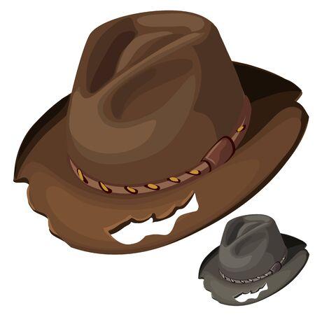 Alte Herren-braunen Hut mit Löchern. Vector isoliert. Vintage-Accessoire für Männer Vektorgrafik