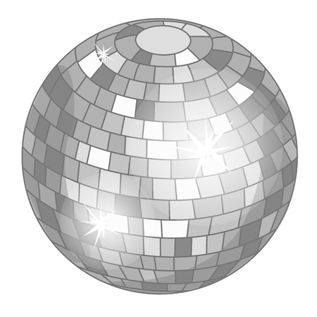 Silver mirror ball or discoball for party. Vector illustration isolated