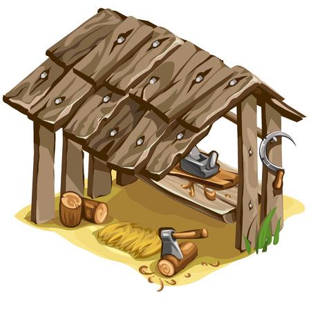 carport: Workplace of woodman or carpenter. Vector illustration on a white background for your design needs Illustration