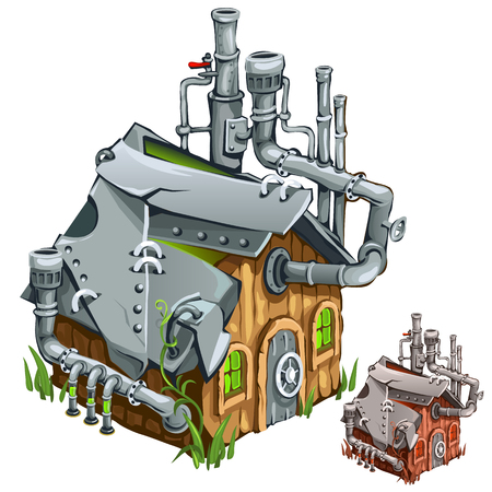 Factory in wooden private house. Cartoon style. Vector illustration on a white background for your design needs