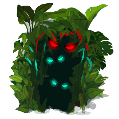 habitable: Glowing eyes of predators of jungle. Cartoon style. Vector illustration on a white background for your design needs