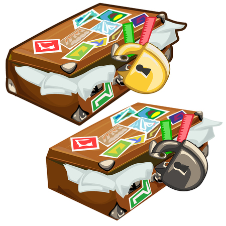 Old filled suitcase with marks closed on padlock. Cartoon style. Vector illustration on a white background for your design needs