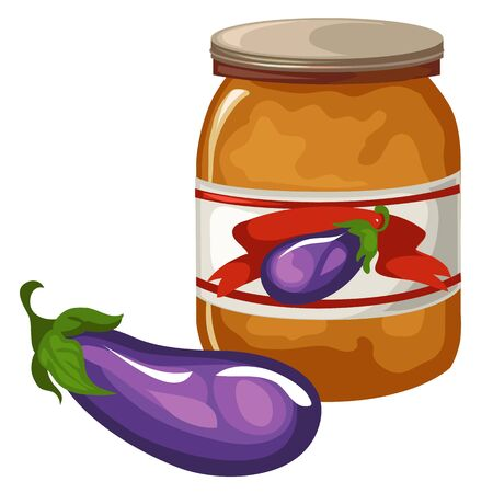 Bank with eggplant caviar on white background. Cartoon style. Vector illustration on a white background for your design needs