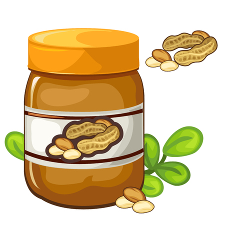 nutty: Jar of peanut butter on a white background. Vector illustration of food on a white background for your design needs Illustration