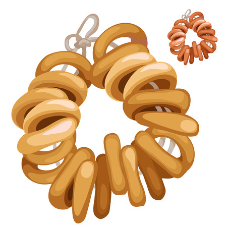 Bunch of bagels on a rope. Vector food. Cartoon style. Illustration on a white background for your design needs